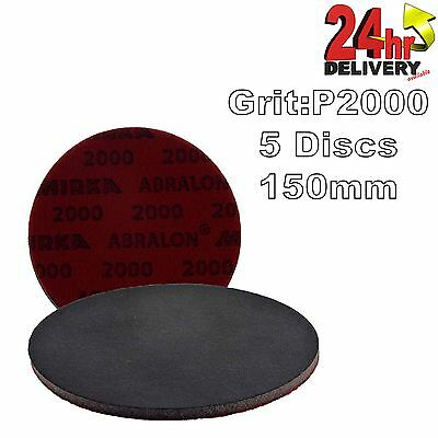 "Mirka Abralon 150mm 6"" P2000 Grit 5x HookNLoop Foam Fine Finishing Discs Pad"