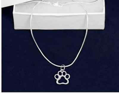 Sterling Silver-Plated Hollow Paw Print Pendant Necklace - SALE BENEFITS RESCUE