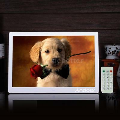 """15.6""""inch HD Digital Photo Frame Picture Movie Player with Remote Control White"""