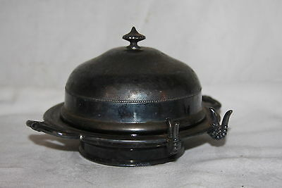Vintage Bristol Plate Co Quadruple Plate Glass Insert Covered Butter Dish