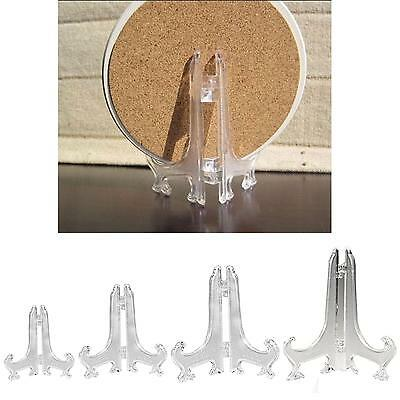12pcs Mini Clear Plastic Coin Minerals Plates Cards Display Easel Stand Holder