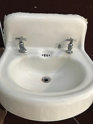 Vintage Antique White Cast Iron Porcelain Bathroom Sink with Faucets 1930
