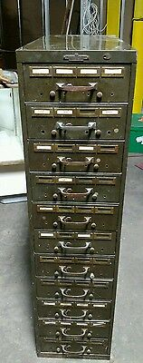 Reclaimed Vintage Industrial Remington Rand Card File Cabinet.  Army Green