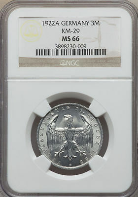 Germany Weimer Republic 1922A 3 Marks NGC MS 66 KM#28