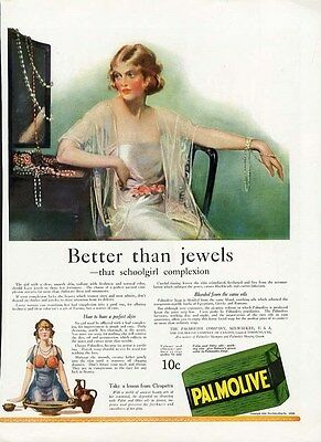 PALMOLIVE Soap Ad 1922 - Beautiful Woman in White Trying on Jewelry