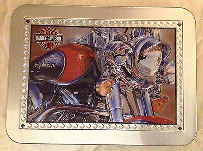 Harley Davidson Motorcycle Playing Cards Tin Box Embossed Lid One Pack Opened