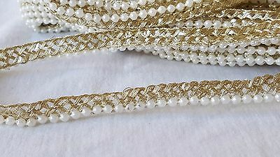 1cm- 1 meter Gorgeous gold beaded lace trimming edging for crafts decor sewing