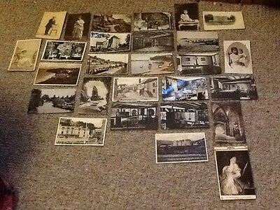 27 vintage black and white postcards and postcard book