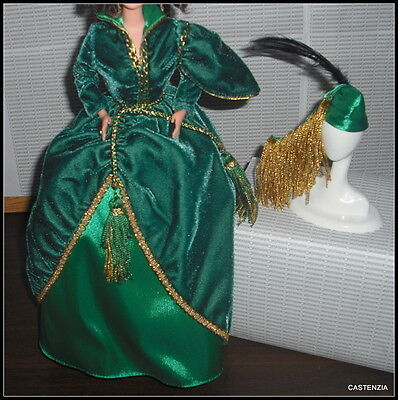 Outfit Only Barbie Gone With The Wind Doll Green Velvet Evening Dress Gown  Hat