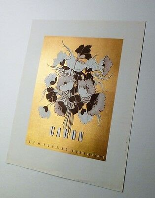 CARON PERFUME AD French 1946 Paris - Floral Bouquet on Metallic Gold Color