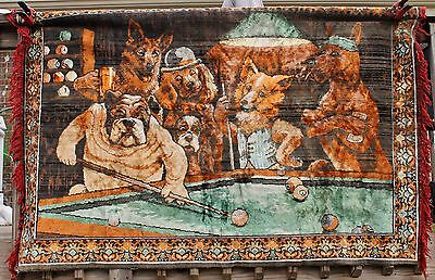 Vintage 70x46 Dogs Playing Pool Velvet Bar Mancave Tapestry Rug Textile Hanging