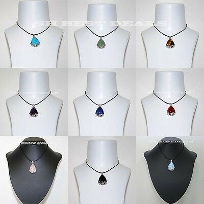Gemstone Quartz Teardrop Flower Wrapped Pendant Leather Chain Choke Necklace