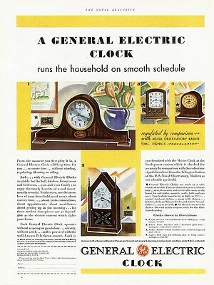 GENERAL ELECTRIC CLOCK Ad 1931 MANTLE Clocks Electric Several Styles Shown