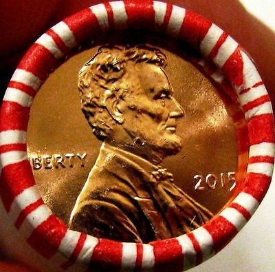 2015 P Union Shield Lincoln Cent Penny Roll - Gem BU - Uncirculated Bank Rolls