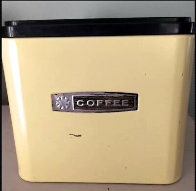 Vintage Mid Century Masterware Coffee Canister With Lid Yellow