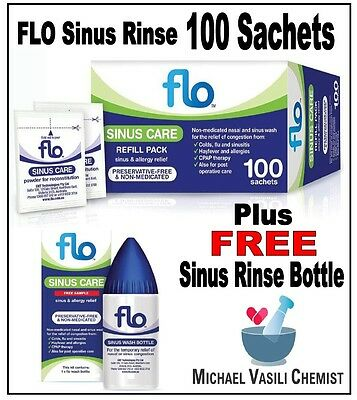 FLO Sinus Care 100 Sachets Refill Pack + FREE Bottle  *MICHAEL VASILI CHEMIST*