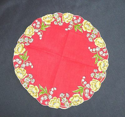 Vtg Hanky Handkerchief  Round Scalloped Edge Red Yellow Floral