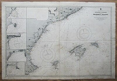 1882 Spain Alicante To Palamos & Balearic Islands Vintage Admiralty Chart Map