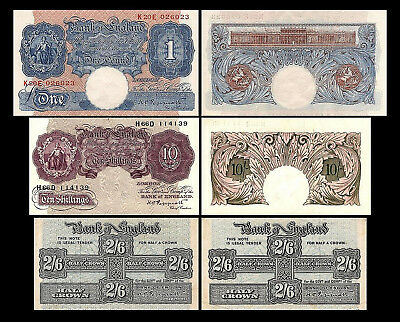 * * * 10 Sh, 2 Sh 6 Pence, 1 Pound - Issue ND 1940-1948 - 3 Banknotes - 06 * * *