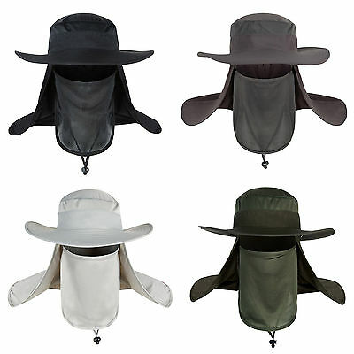 NT Hiking Fishing Hat Outdoor Sport Sun Protection Neck Face Flap Cap Wide Brim