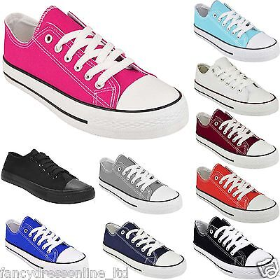 New Ladies Women Girls Flat Lace Up Canvas Plimsolls Trainer Skater Pumps Shoes
