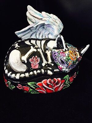 Day Of The Dead Cat Kitty Figurine Statue Sugar Skull Angel Wings Art