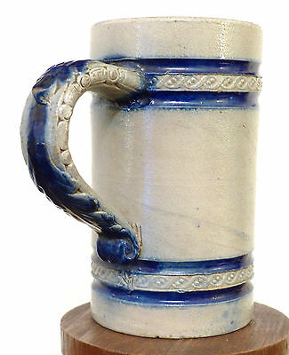 Antique 19th C Salt Glaze COBALT Stoneware BEER Stein Mug J HAUSMANN NY