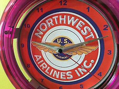 Northwest OldLogo Airlines Airport Airplane Pilot Man Cave Neon Wall Clock Sign