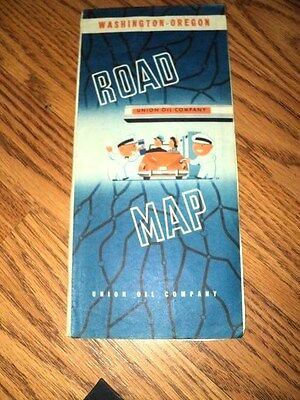 1946 Washington Oregon road  map Union 76 gas oil