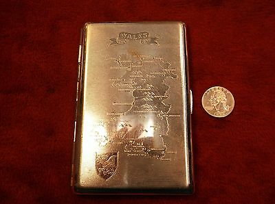 """Neat Vtg Cigarette Case With Map Of Wales On Its Lid """"tallent Made In England"""""""