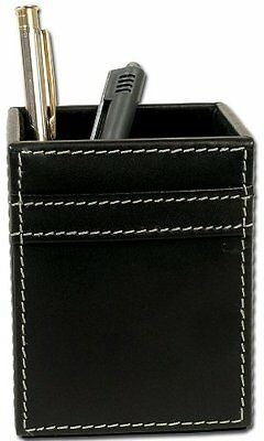 DACS-A1210-Dacasso Rustic Black Leather Pencil Cup