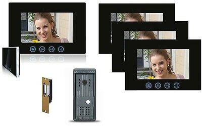 Video Intercom Door Bell Four Color Monitor Single Entry Unit Kit