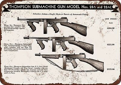 "7"" x 10"" Metal Sign - 1944 Thompson Submachine Guns - Vintage Look Reproduction"