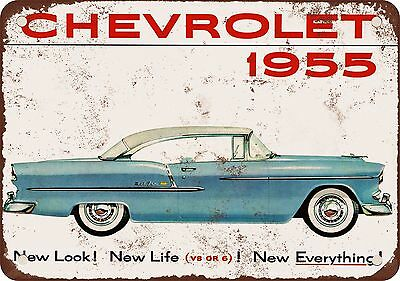 "7"" x 10"" Metal Sign - 1955 Chevrolet Automobiles - Vintage Look Reproduction"