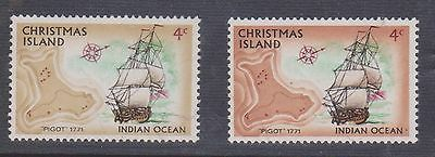 (K18-39) 1973 Christmas Island 4c wrong brown& normal for comparison MNG