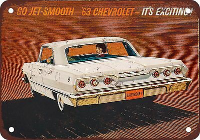 "7"" x 10"" Metal Sign - 1963 Chevrolet Impala - Vintage Look Reproduction"