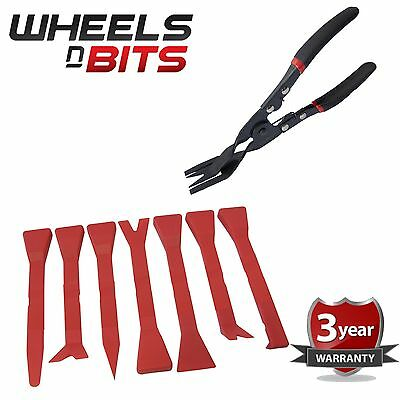 8Pc Car Door Card Panel Trim Clip Removal Pliers & Tools Upholstery Remover