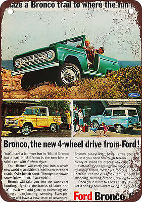 "7"" x 10"" Metal Sign - 1966 Ford Bronco - Vintage Look Reproduction"