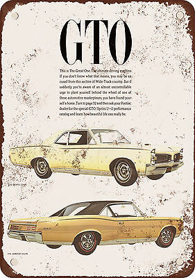 "7"" x 10"" Metal Sign - 1967 Pontiac GTO - Vintage Look Reproduction"