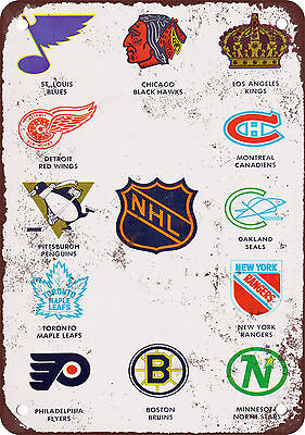 "7"" x 10"" Metal Sign - 1968 NHL Teams - Vintage Look Reproduction"