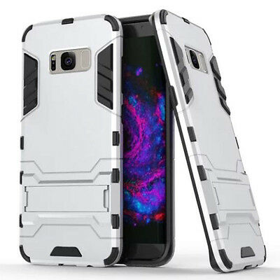Silver Rugged Armor Hard Hybrid Back Case Cover Stand For Various Phones