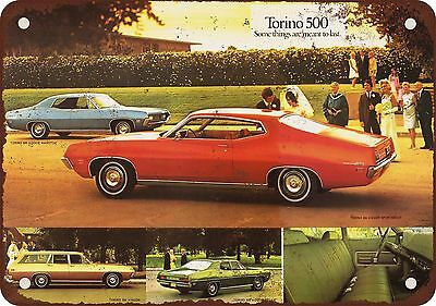 "7"" x 10"" Metal Sign - 1971 Ford Torino 500 - Vintage Look Reproduction"