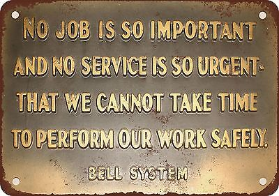 "7"" x 10"" Metal Sign - Bell System Safety Message - Vintage Look Reproduction"