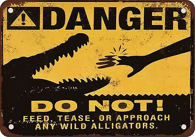 "7"" x 10"" Metal Sign - Danger Alligators - Vintage Look Reproduction"