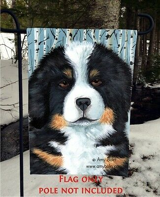 Bernese Mountain DOG PUPPY EYES 12 By 18 GARDEN FLAG no pole by Amy Bolin
