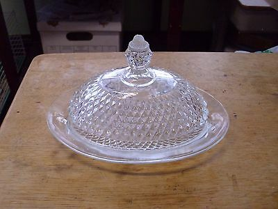 Vintage Footed Diamond Point Covered Butter Dish Indiana Glass Oval Dome, Nice!