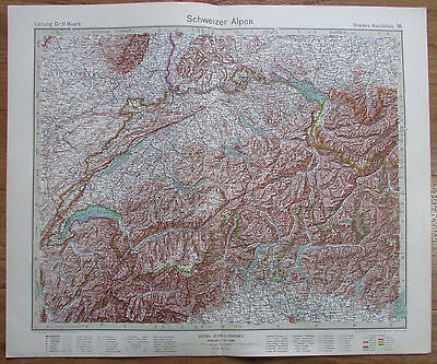 SCHWEIZER ALPEN - THE SWISS MOUNTAIN 1926 Kupferstich alte Landkarte old map