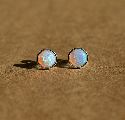 925 sterling silver stud earrings with 6mm white opal stones