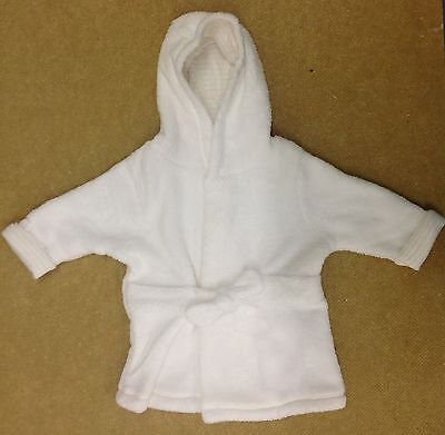Ex Store Babies White Fleece Hooded Gown Robe UK Sizes 0-24 Months