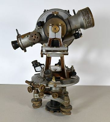 1920 ANTIQUE TOPOGRAPHIC SURVEYING GERMAN OTTO FENNEL BRASS THEODOLITE w/COMPASS